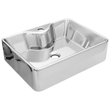 vidaXL Waschbecken mit Wasserhahnloch 48x37x13,5cm Keramik Silbern[2/6]