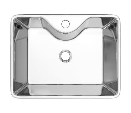 vidaXL Waschbecken mit Wasserhahnloch 48x37x13,5cm Keramik Silbern[4/6]
