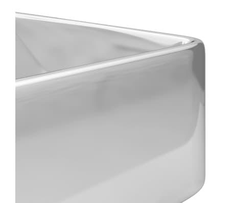 vidaXL Waschbecken mit Wasserhahnloch 48x37x13,5cm Keramik Silbern[5/6]