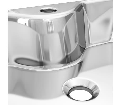 vidaXL Waschbecken mit Wasserhahnloch 48x37x13,5cm Keramik Silbern[6/6]