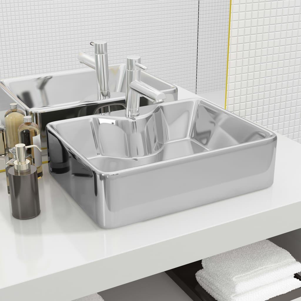 vidaXL Chiuvetă cu orificiu robinet, argintiu, 48x37x13,5 cm, ceramică imagine vidaxl.ro