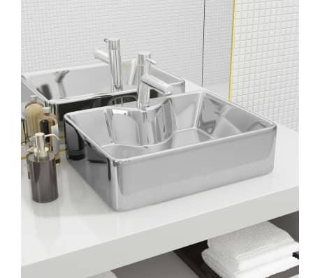 vidaXL Waschbecken mit Wasserhahnloch 48x37x13,5cm Keramik Silbern[1/6]