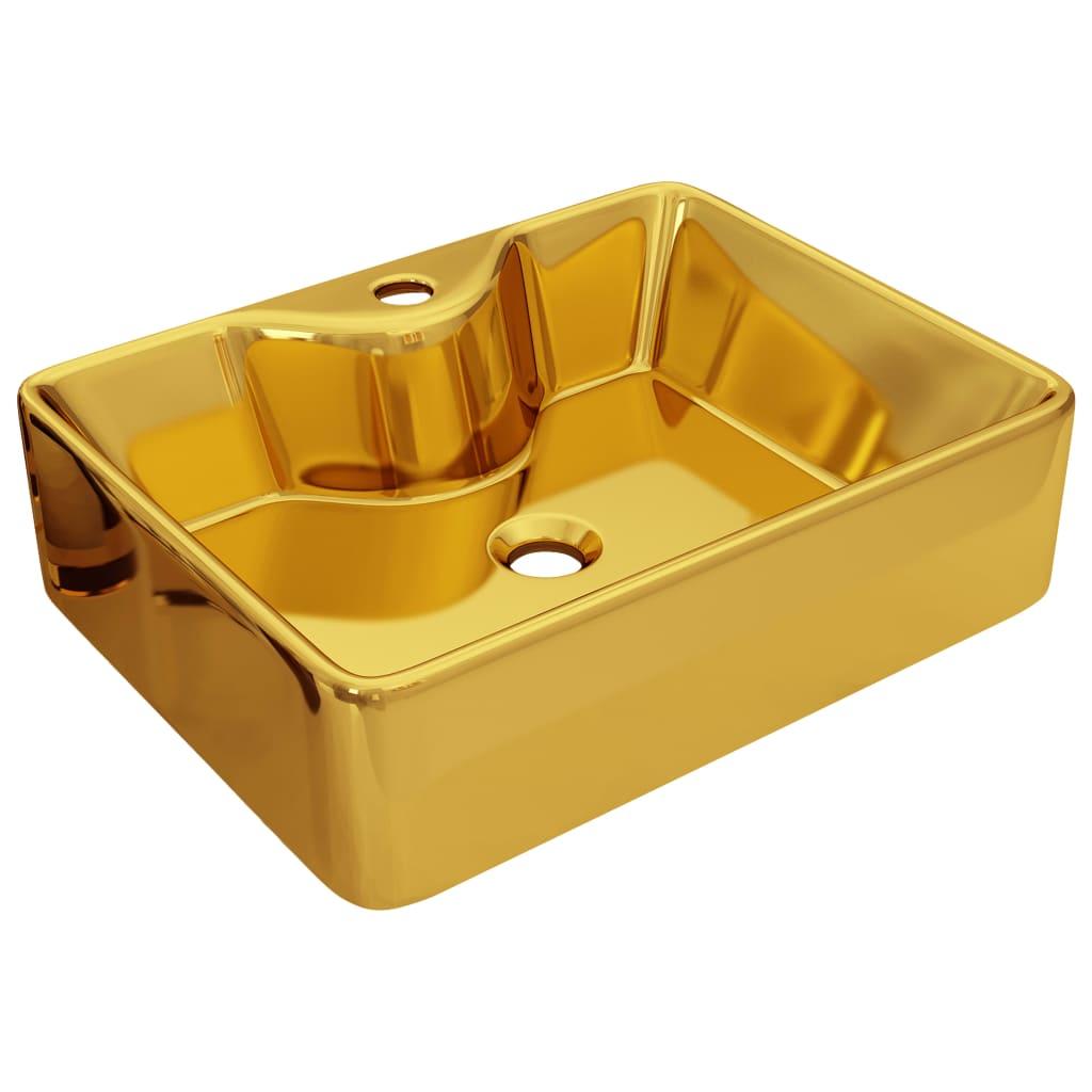vidaXL Νιπτήρας με Οπή Βρύσης Χρυσός 48 x 37 x 13,5 εκ. Κεραμικός