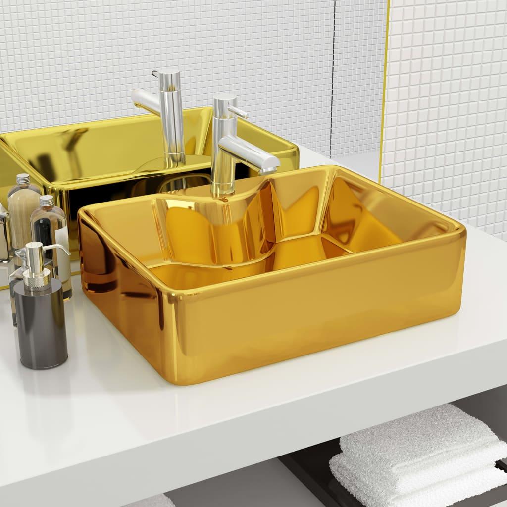 vidaXL Chiuvetă cu orificiu de robinet, auriu, 48x37x13,5 cm, ceramică vidaxl.ro