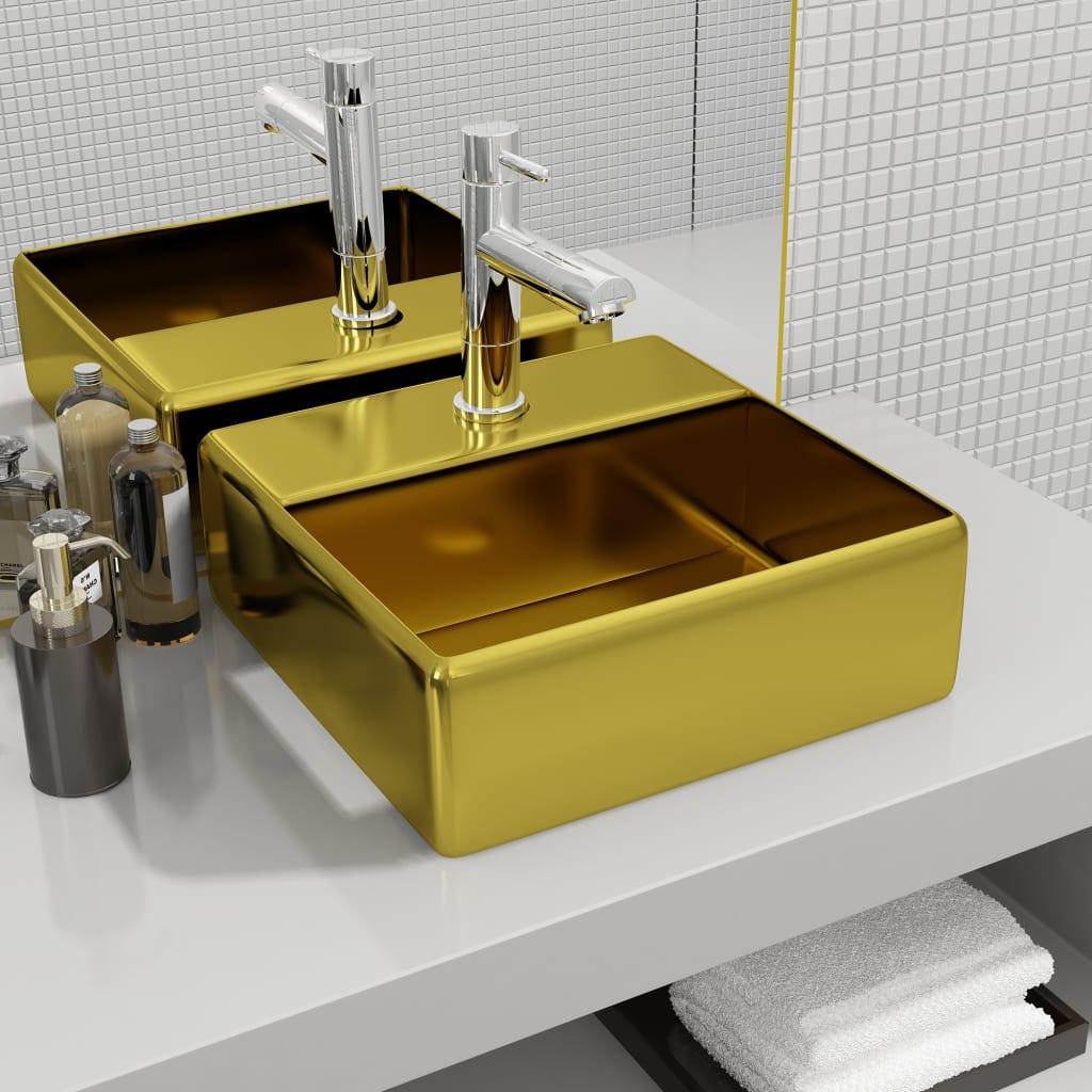 vidaXL Chiuvetă cu orificiu de robinet, auriu, 38x30x11,5 cm, ceramică imagine vidaxl.ro