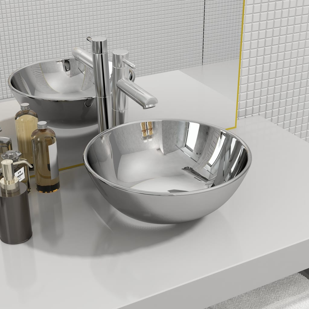 vidaXL Chiuvetă de baie, argintiu, 28 x 10 cm, ceramică imagine vidaxl.ro