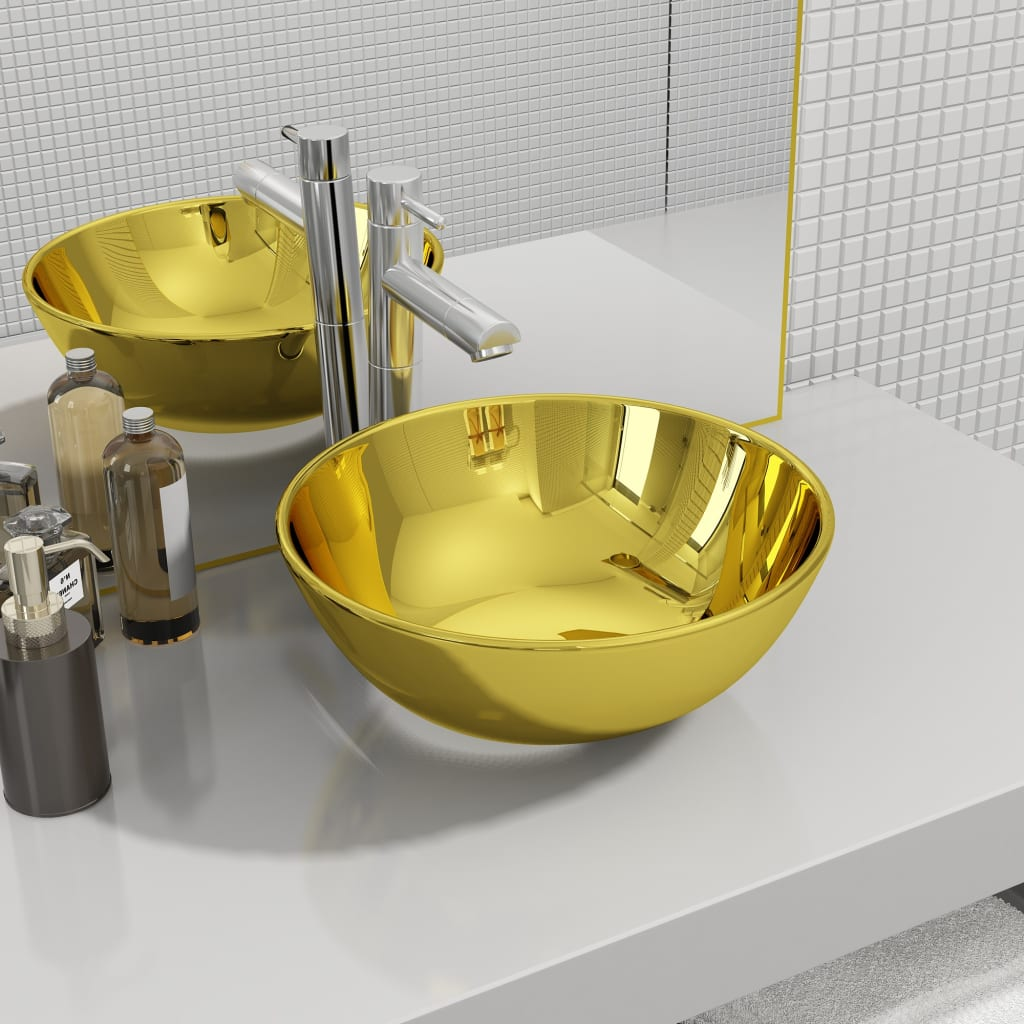 vidaXL Chiuvetă de baie, auriu, 28 x 10 cm, ceramică imagine vidaxl.ro
