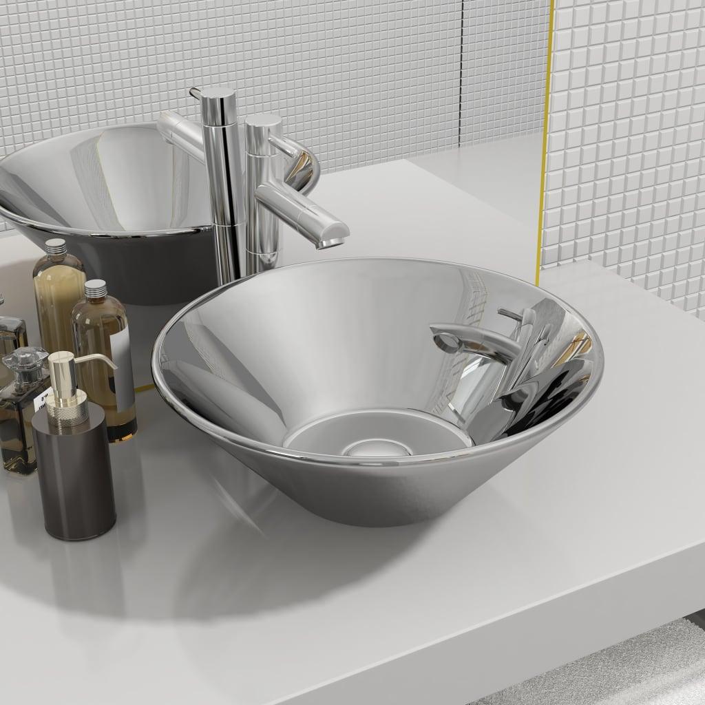 vidaXL Chiuvetă de baie, argintiu, 42 x 14 cm, ceramică imagine vidaxl.ro