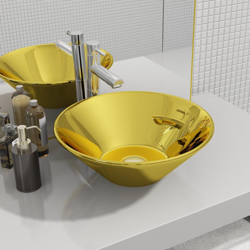 vidaXL Chiuvetă de baie, auriu, 42 x 14 cm, ceramică vidaxl.ro