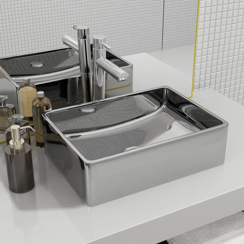 vidaXL Chiuvetă de baie, argintiu, 41 x 30 x 12 cm, ceramică vidaxl.ro