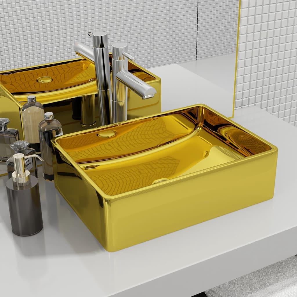 vidaXL Chiuvetă de baie, auriu, 41 x 30 x 12 cm, ceramică vidaxl.ro