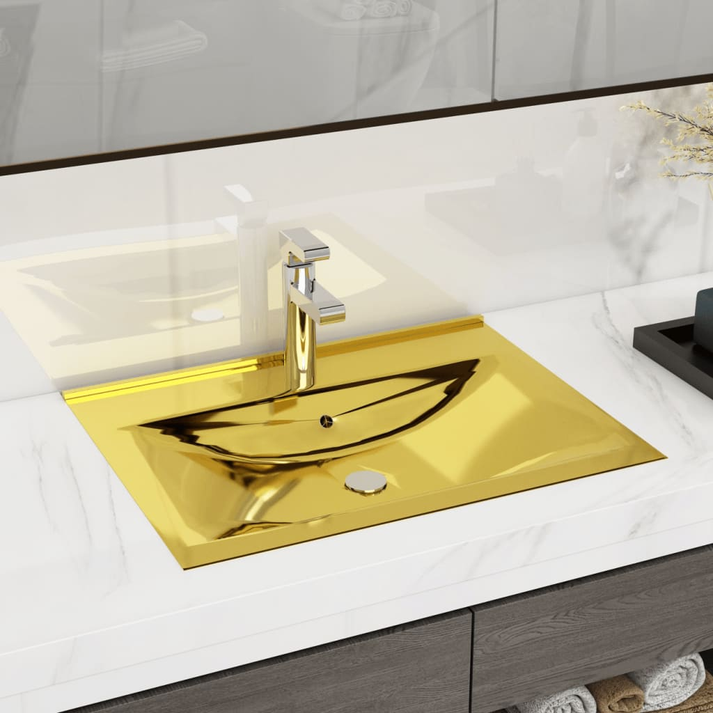 vidaXL Chiuvetă cu preaplin, auriu, 60x46x16 cm, ceramică vidaxl.ro