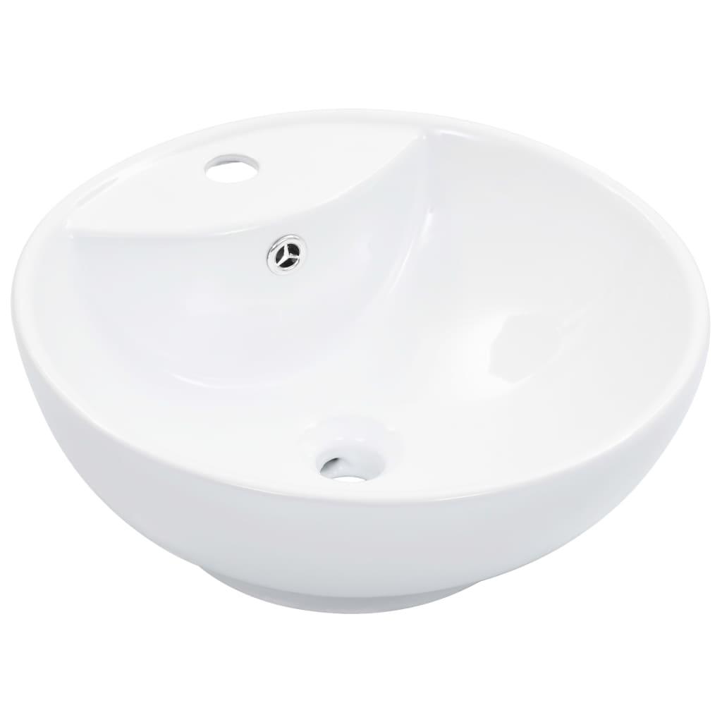 vidaXL Chiuvetă cu preaplin, alb, 46,5 x 18 cm, ceramică poza vidaxl.ro
