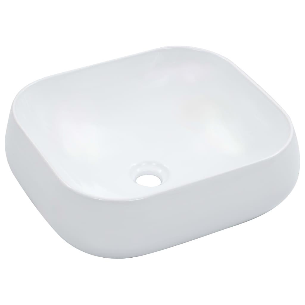 vidaXL Chiuvetă de baie, alb, 44,5x39,5x14,5 cm, ceramică poza vidaxl.ro