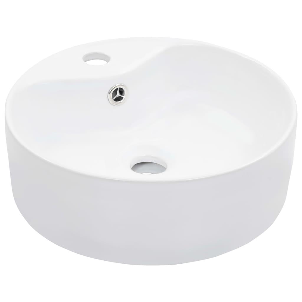 Umyvadlo s přepadem bílé 36 x 13 cm keramika