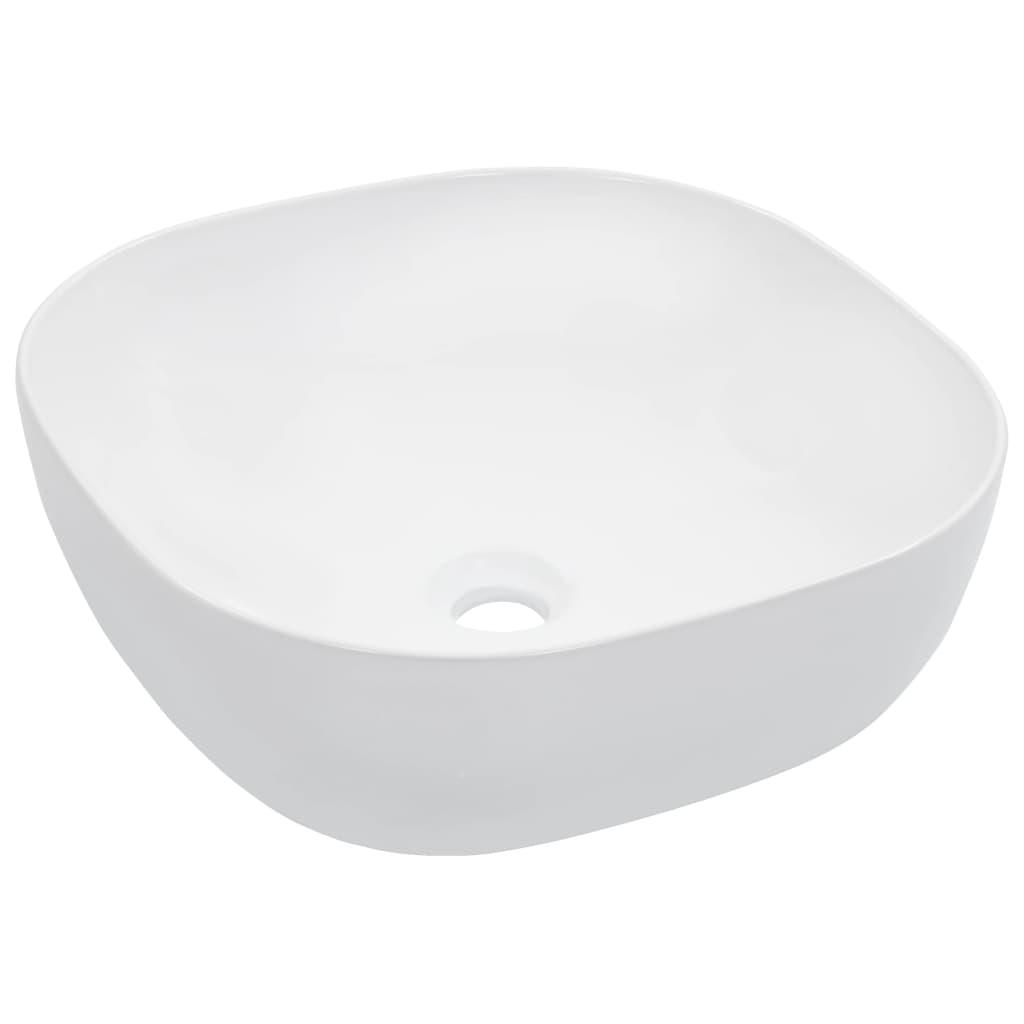 vidaXL Chiuvetă de baie, alb, 42,5x42,5x14,5 cm, ceramică vidaxl.ro
