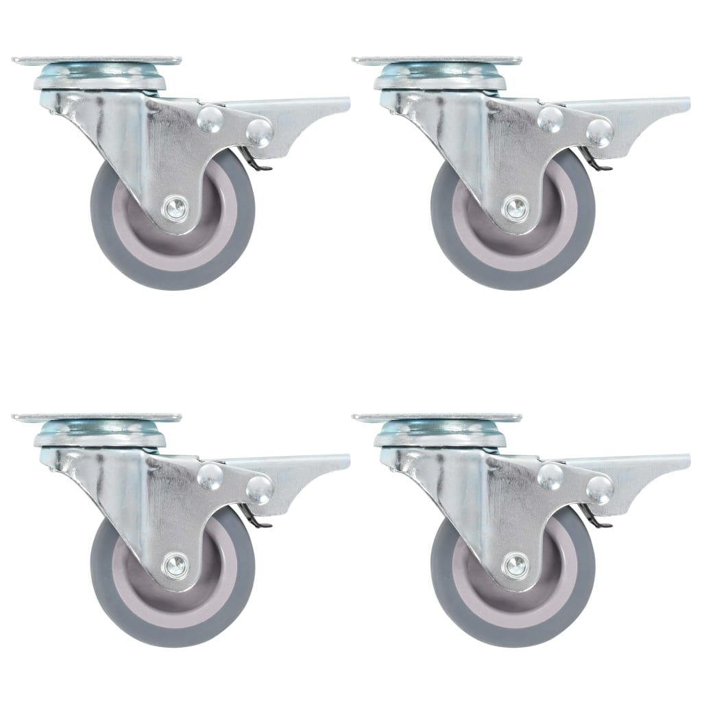 vidaXL Zwenkwielen met dubbele remmen 4 st 50 mm