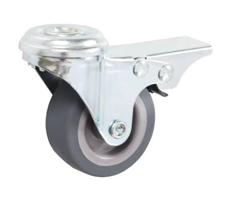vidaXL 4 pcs Roulettes pivotantes à trou de boulon à double frein 50mm[3/5]