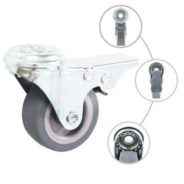 vidaXL 4 pcs Roulettes pivotantes à trou de boulon à double frein 50mm[2/5]