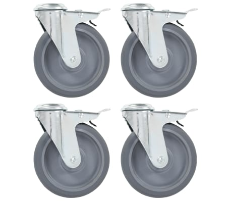 vidaXL 4x Ruedas Giratorias Agujero Pasador y Frenos Dobles Almac/én /Útil Industria Manipulaci/ón Materiales Resistentes Superficie Suave Robustas 75mm