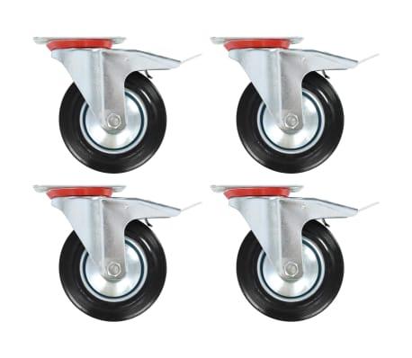 vidaXL Länkhjul med dubbla bromsar 4 st 160 mm