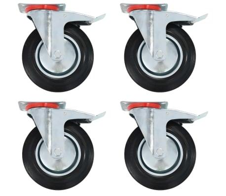 vidaXL Länkhjul med dubbla bromsar 4 st 200 mm