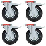 vidaXL Roulettes pivotantes avec double frein 4 pcs 200 mm