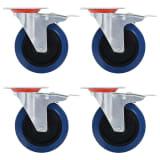 vidaXL Länkhjul med dubbla bromsar 4 st 125 mm