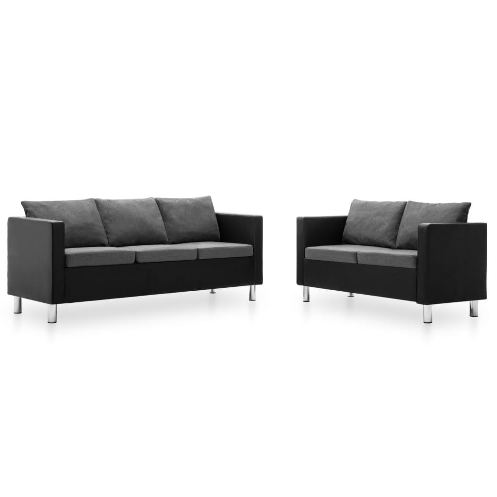 vidaXL Set canapele, 2 piese, piele ecologică, negru și gri deschis imagine vidaxl.ro