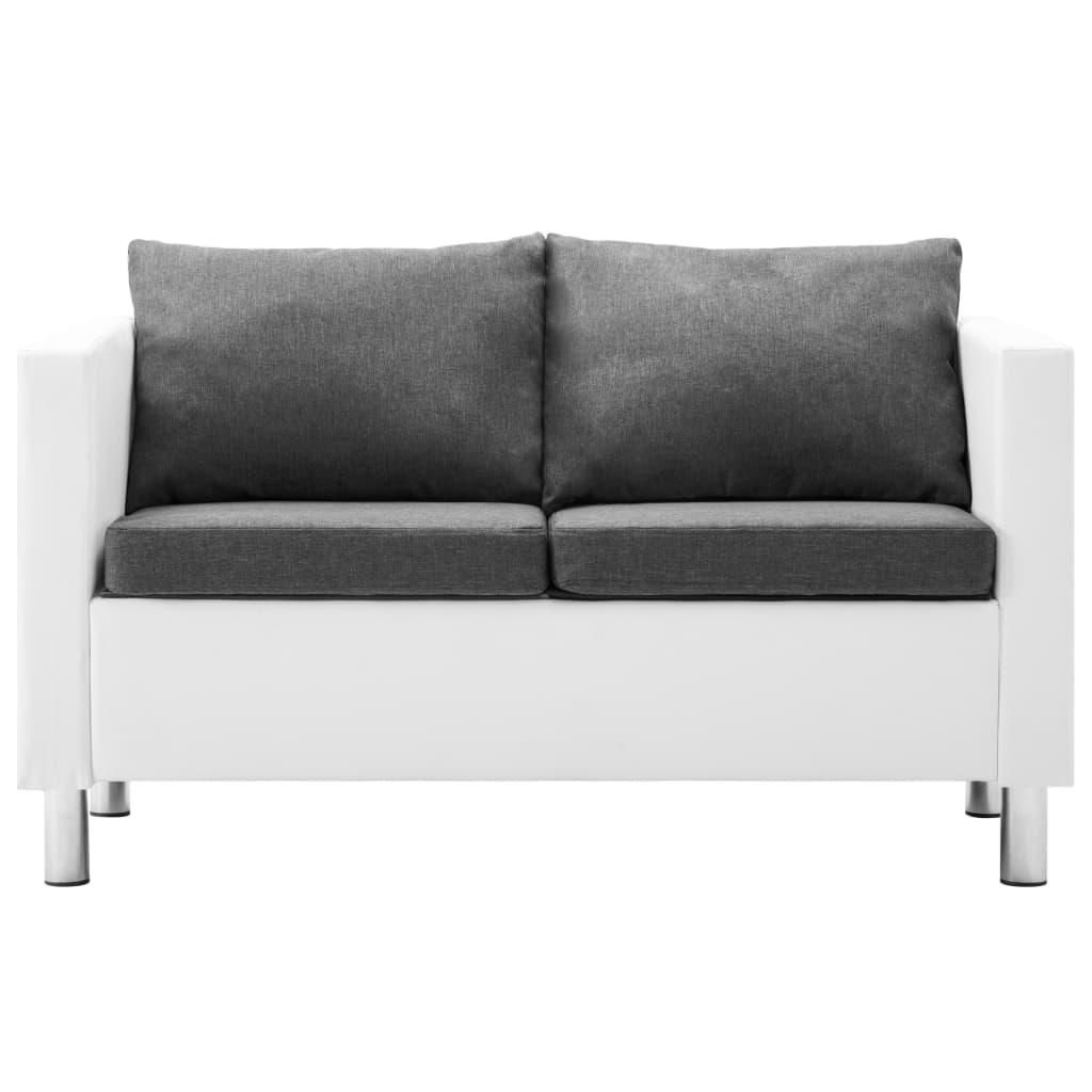 vidaXL Bankstel kunstleer wit en lichtgrijs 2-delig