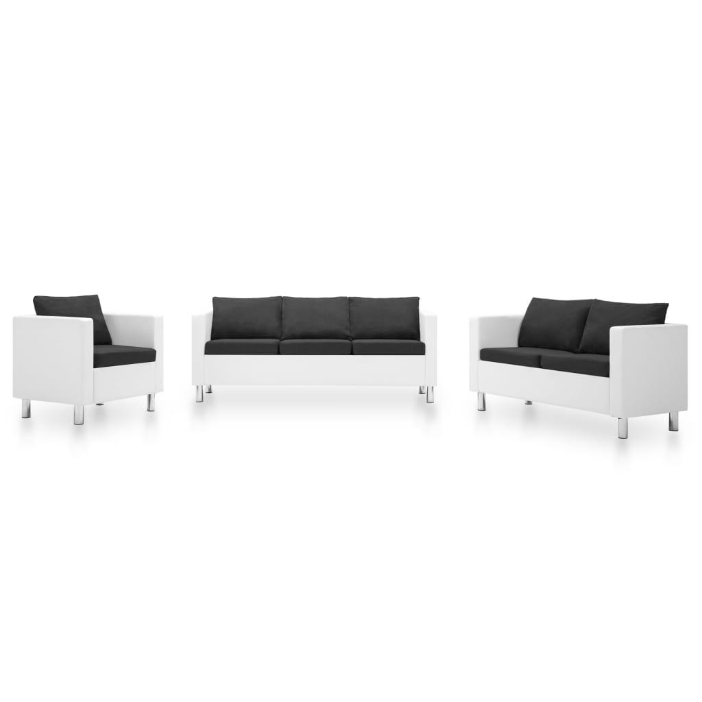 vidaXL Canapele, 3 piese, alb și gri închis, piele ecologică imagine vidaxl.ro