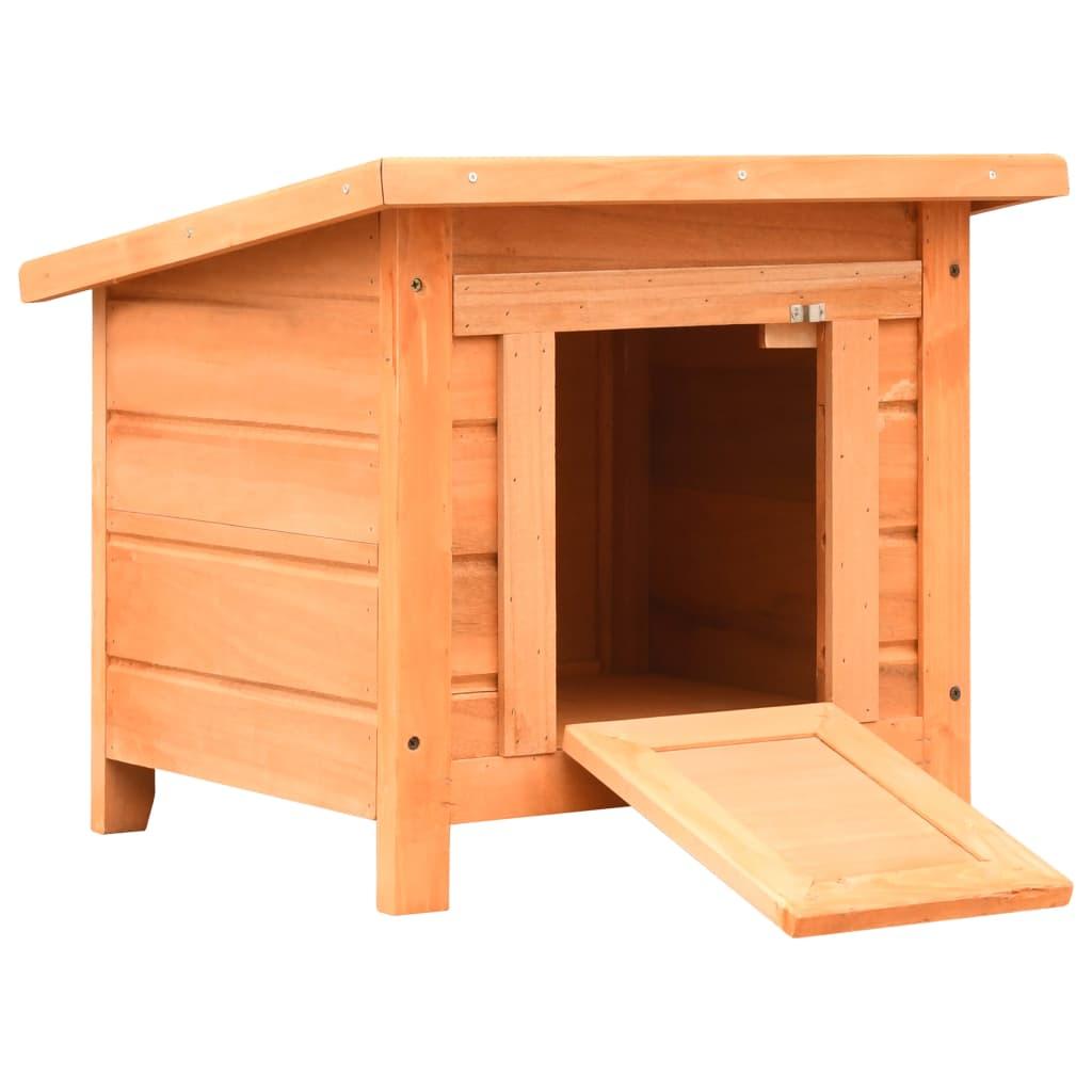 vidaXL Căsuță pisici, 50x46x43,5 cm, lemn masiv de pin și brad poza 2021 vidaXL