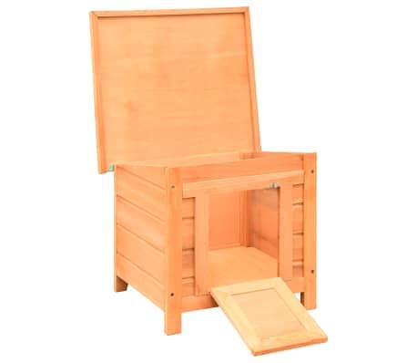 vidaXL Caseta para gatos madera maciza de pino y abeto 50x46x43,5 cm[2/13]