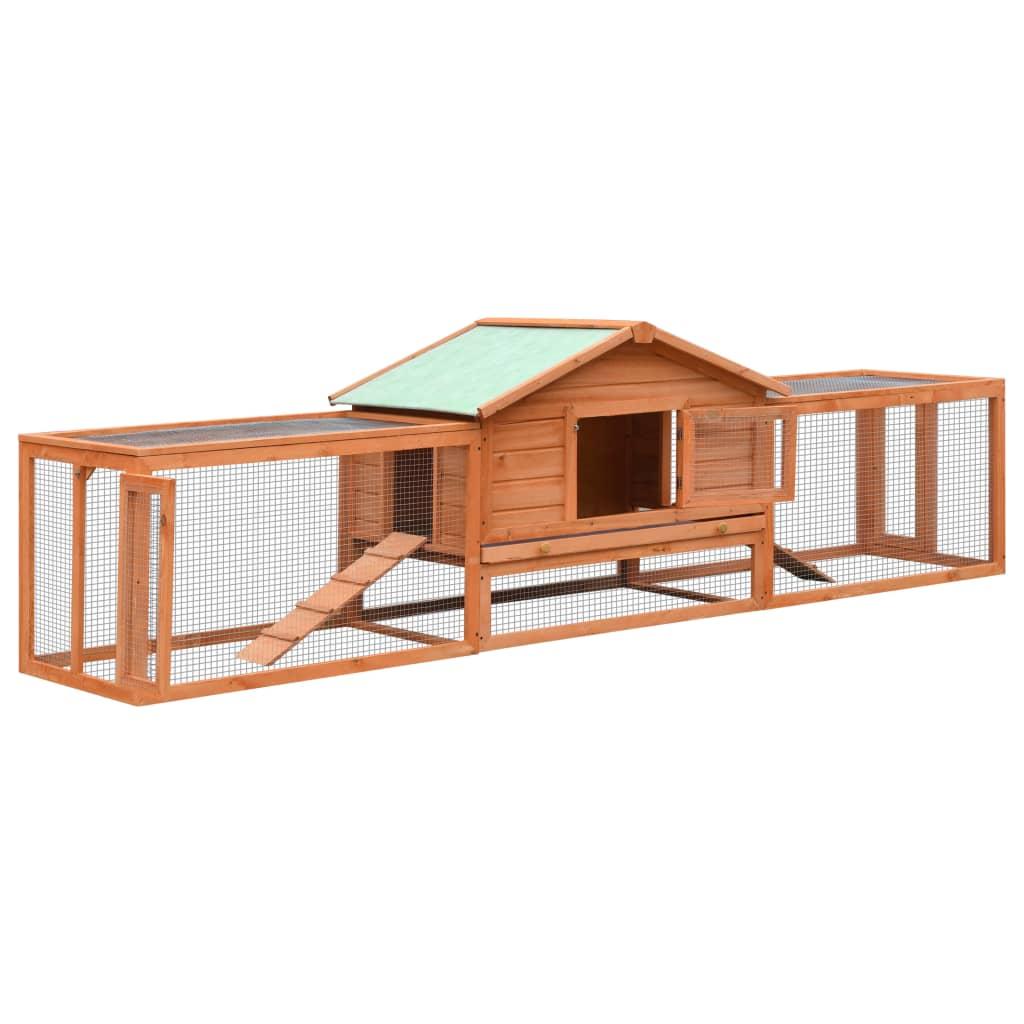 vidaXL Cușcă iepuri, 303 x 60 x 86 cm, lemn masiv de pin & brad imagine vidaxl.ro