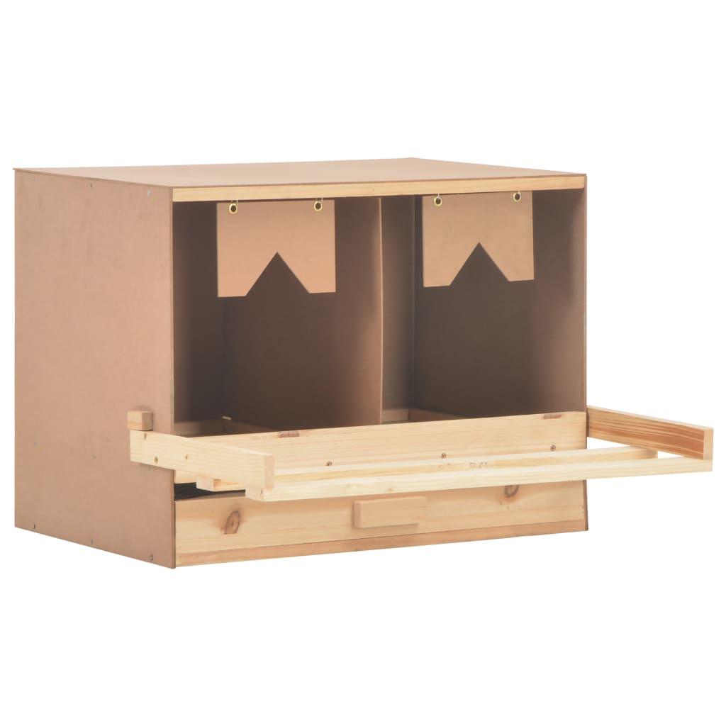 vidaXL Cuibar găini cu 2 compartimente, 63x40x45 cm, lemn masiv pin imagine vidaxl.ro