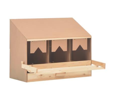 vidaXL Ponedero para gallinas 3 compartimentos madera pino 72x33x54 cm