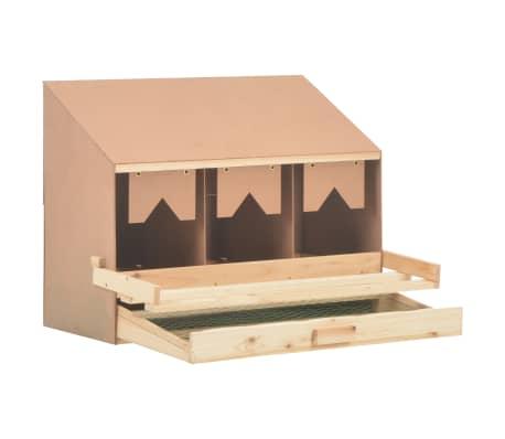 vidaXL Cuibar găini cu 3 compartimente, 72x33x54 cm, lemn masiv pin[4/9]