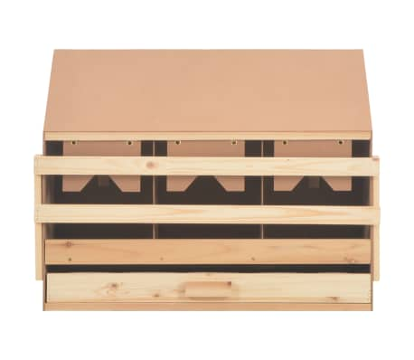 vidaXL Cuibar găini cu 3 compartimente, 72x33x54 cm, lemn masiv pin[5/9]