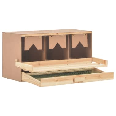 vidaXL Cuibar găini cu 3 compartimente, 72x33x38 cm, lemn masiv pin[4/9]