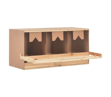 vidaXL Ponedero para gallinas 3 compartimentos madera pino 96x40x45 cm