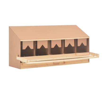 vidaXL Ponedero para gallinas 5 compartimentos madera pino 117x33x54cm