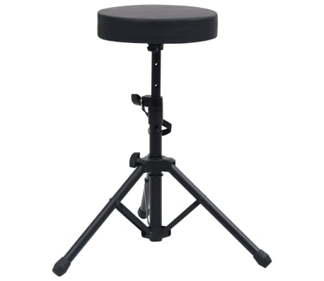vidaXL Adjustable Drum Stool Black Round