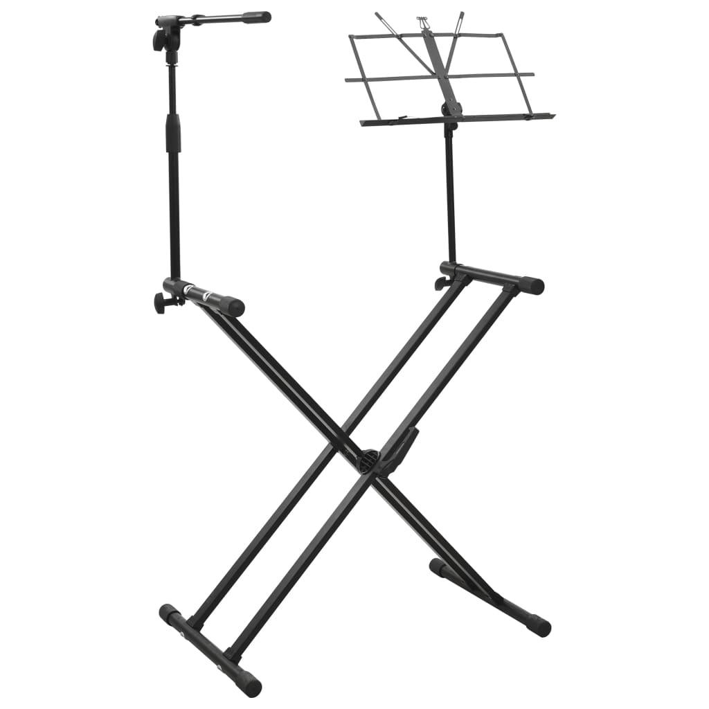vidaXL Stojan na klávesnici s držákem na mikrofon a notovým stojanem