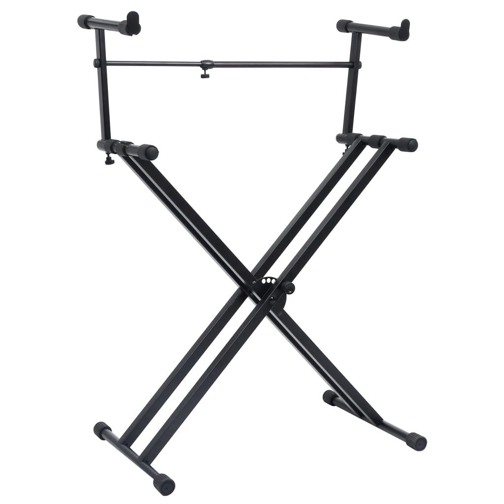 vidaXL Set suport dublu claviatură, cadru în formă de X, negru poza vidaxl.ro