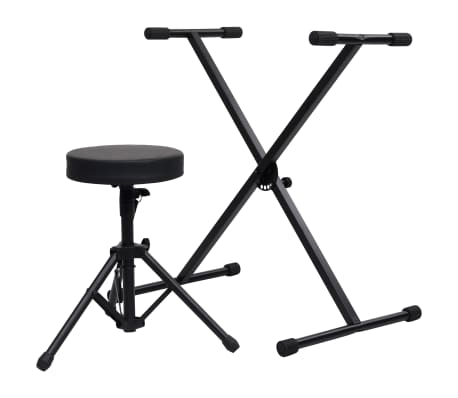 vidaXL Keyboard Stand and Stool Set Black