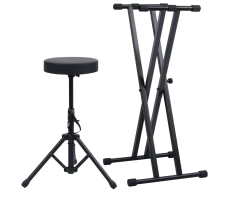 vidaXL Double Braced Keyboard Stand and Stool Set Black
