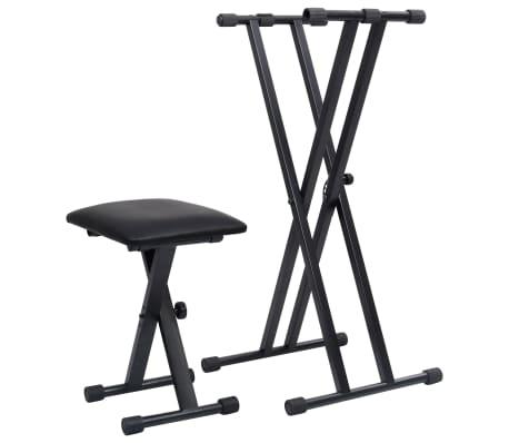 vidaXL Double Braced Keyboard Stand and Stool Set Black