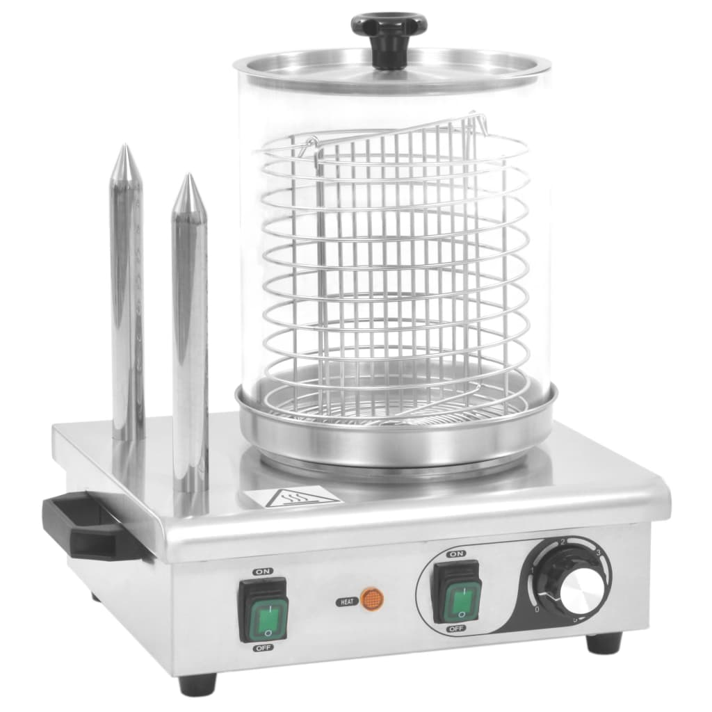 Afbeelding van vidaXL Hotdog verwarmer met 2 staven 500 W roestvrij staal