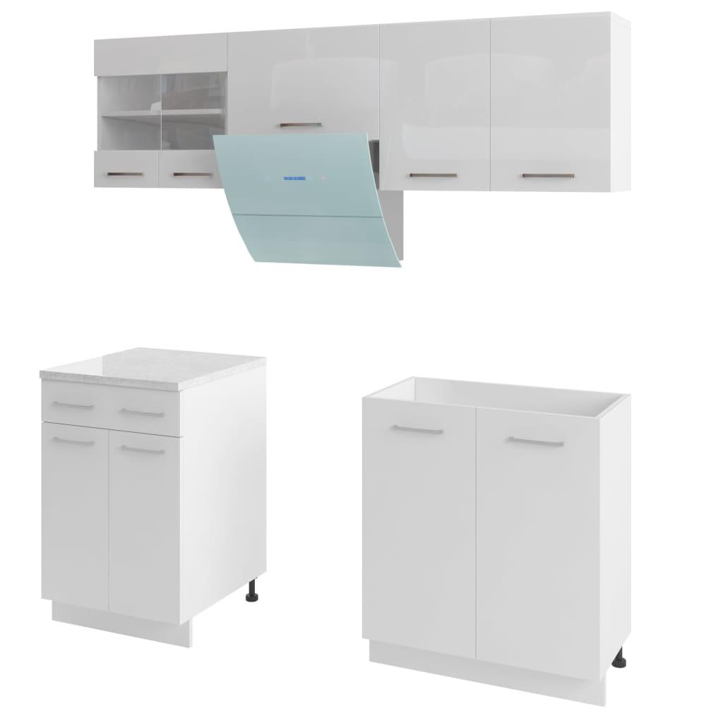 Afbeelding van vidaXL Keukenkastenset met afzuigkap 5-delig hoogglans wit