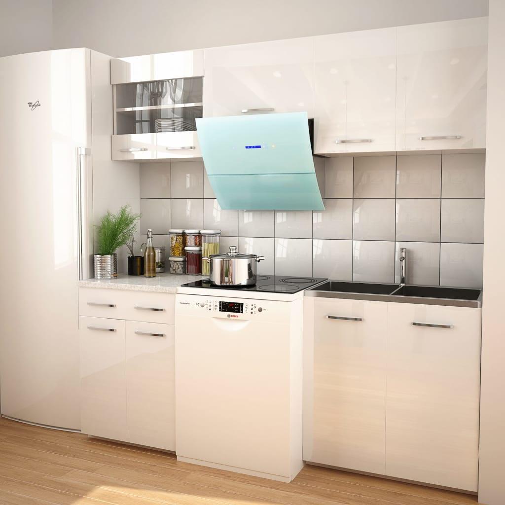 5dílná kuchyňská linka s digestořem bílá vysoký lesk